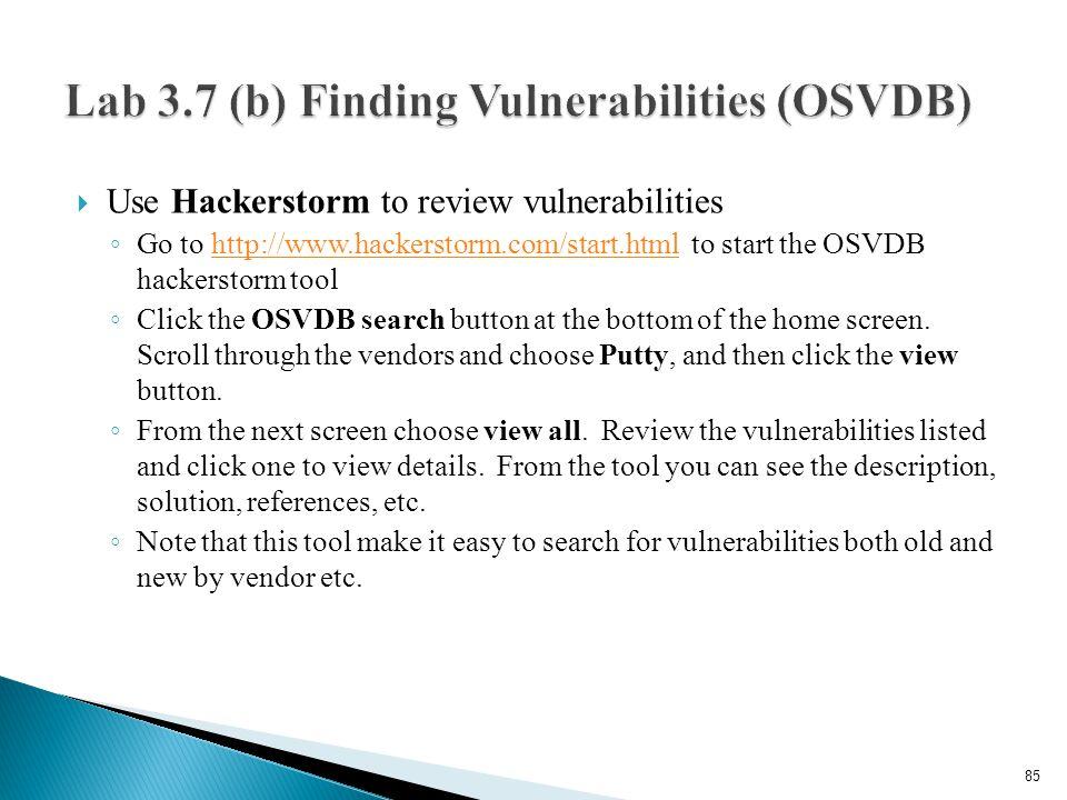 Lab 3.7 (b) Finding Vulnerabilities (OSVDB)