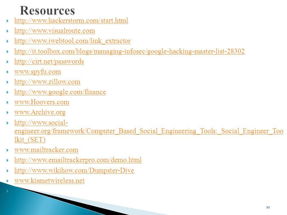 Resources http://www.hackerstorm.com/start.html
