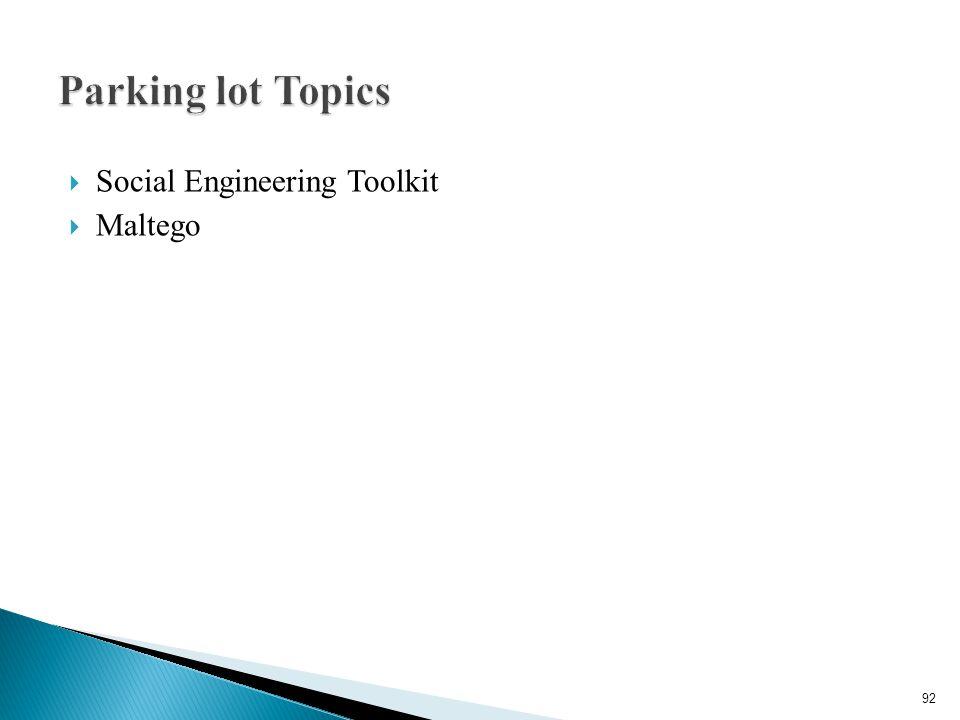 Parking lot Topics Social Engineering Toolkit Maltego