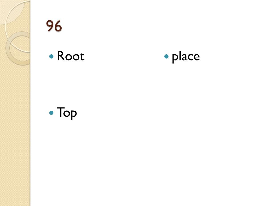 96 Root Top place