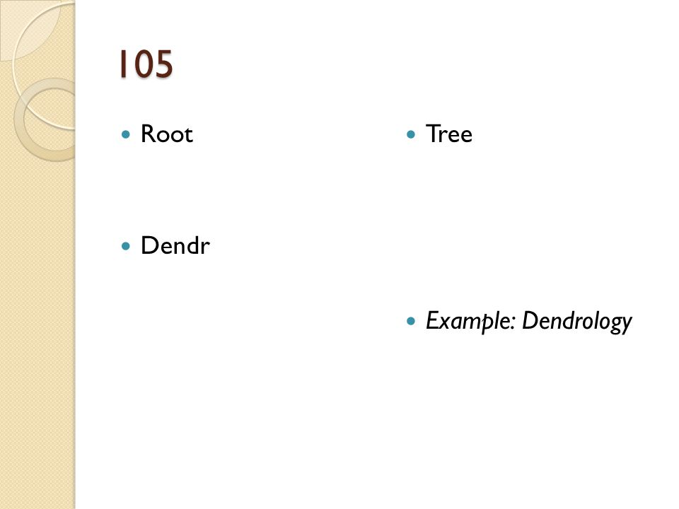 105 Root Dendr Tree Example: Dendrology