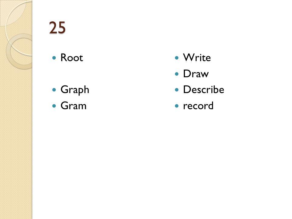 25 Root Graph Gram Write Draw Describe record