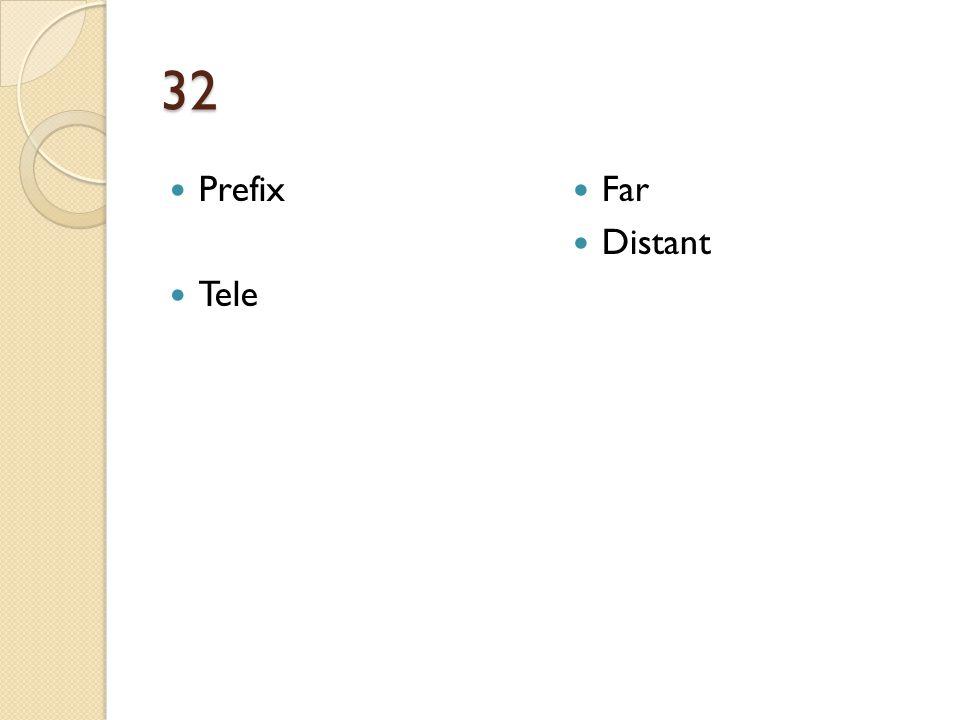 32 Prefix Tele Far Distant