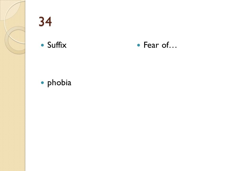 34 Suffix phobia Fear of…