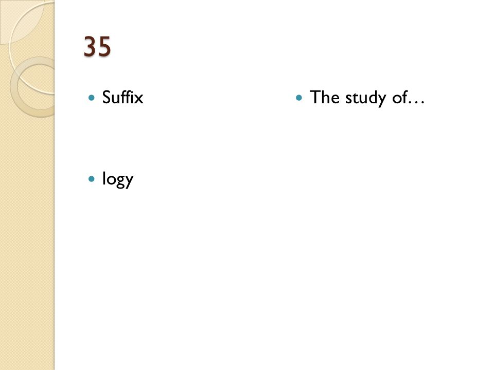 35 Suffix logy The study of…