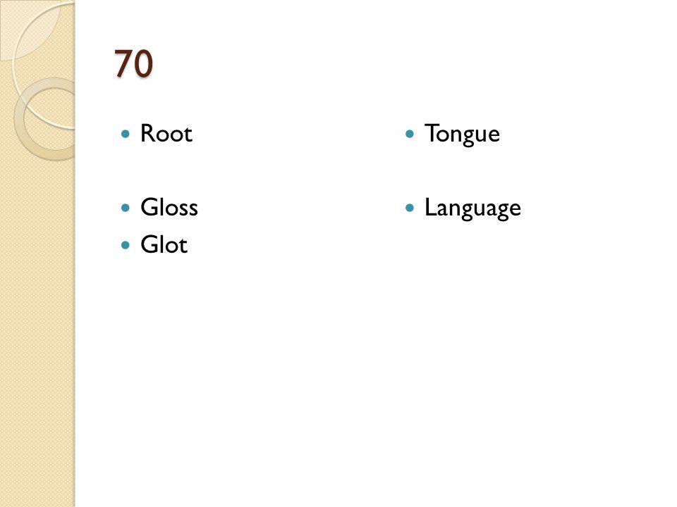 70 Root Gloss Glot Tongue Language