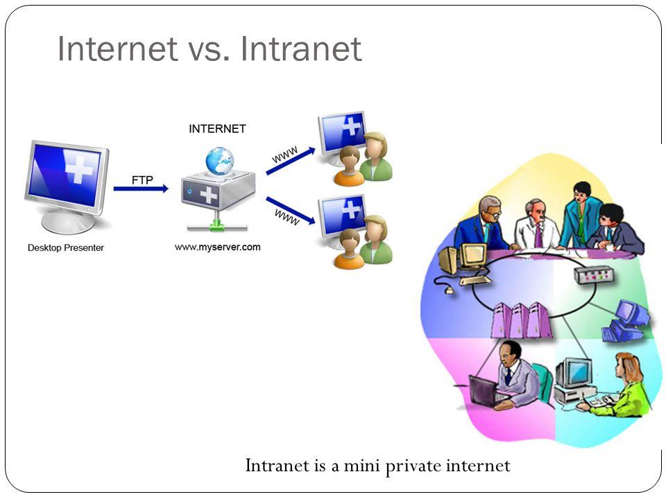 Internet vs. Intranet Intranet is a mini private internet
