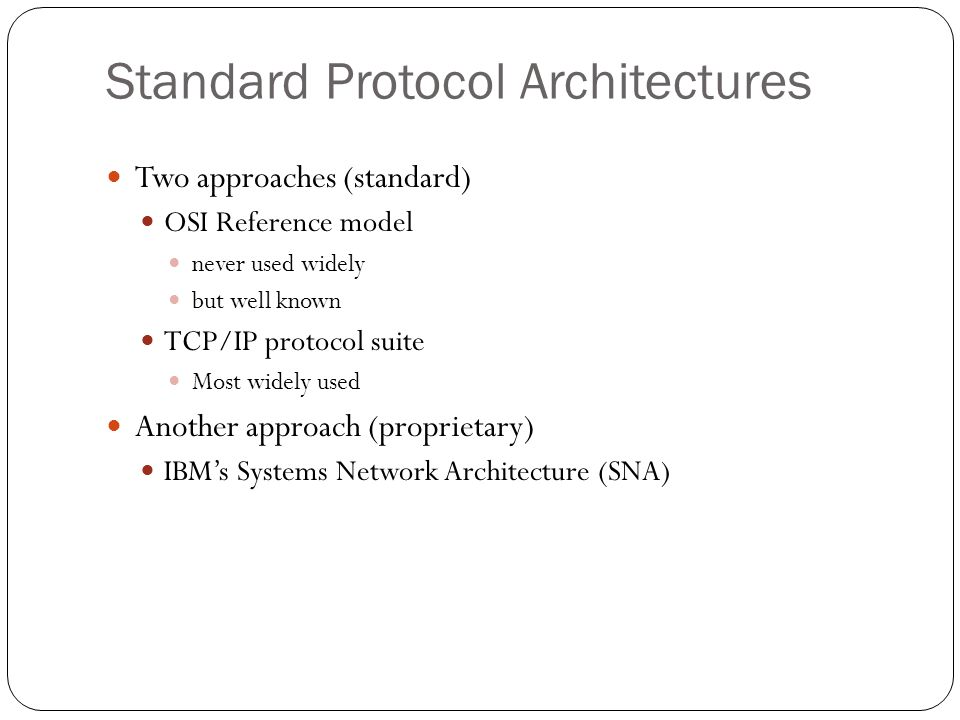 Standard Protocol Architectures