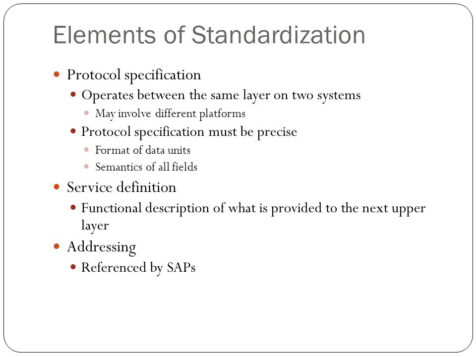 Elements of Standardization