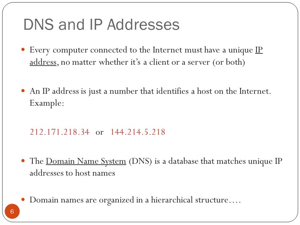 DNS and IP Addresses Every computer connected to the Internet must have a unique IP address, no matter whether it's a client or a server (or both)
