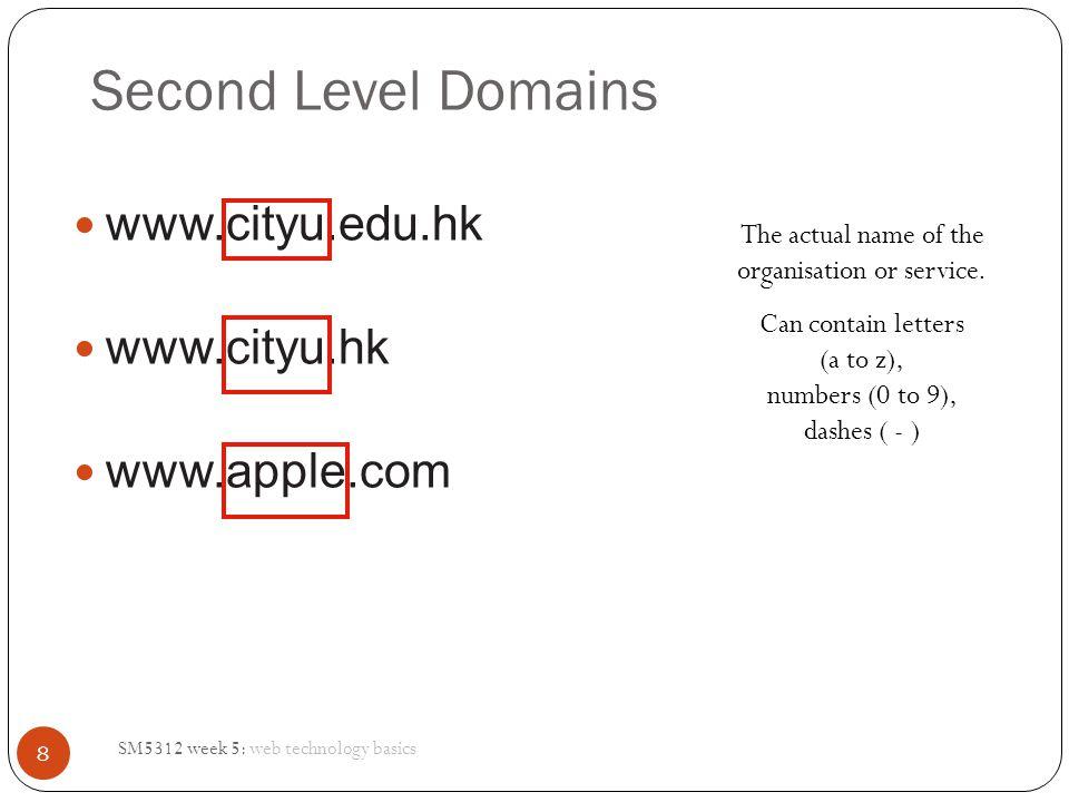 Second Level Domains www.cityu.edu.hk www.cityu.hk www.apple.com