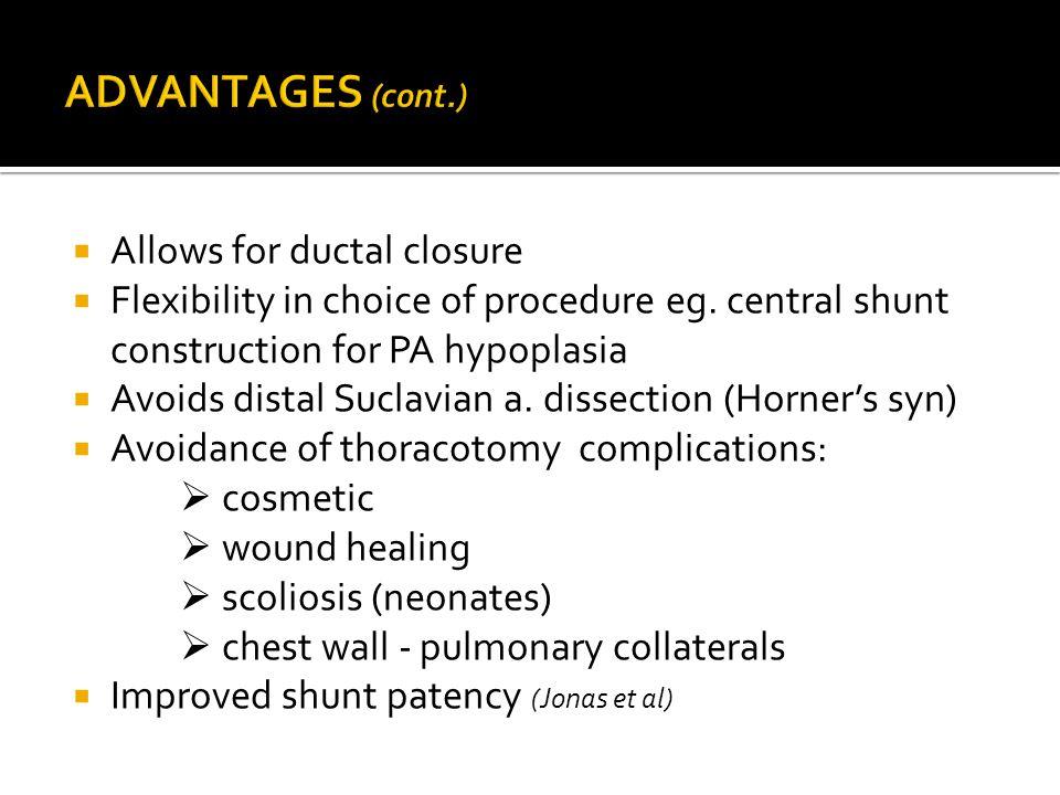 ADVANTAGES (cont.) Allows for ductal closure