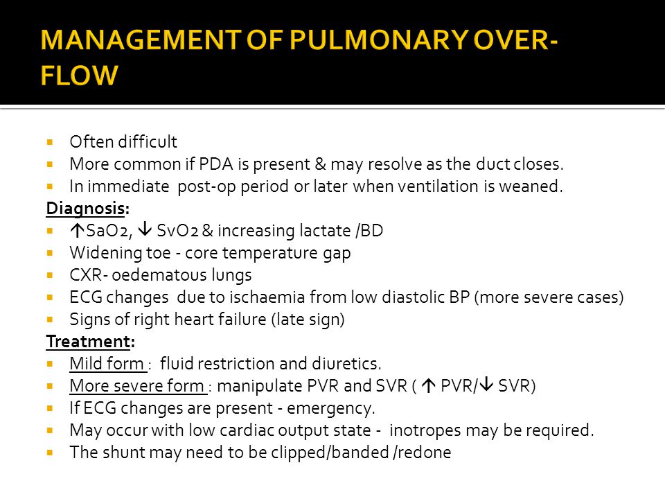 MANAGEMENT OF PULMONARY OVER-FLOW