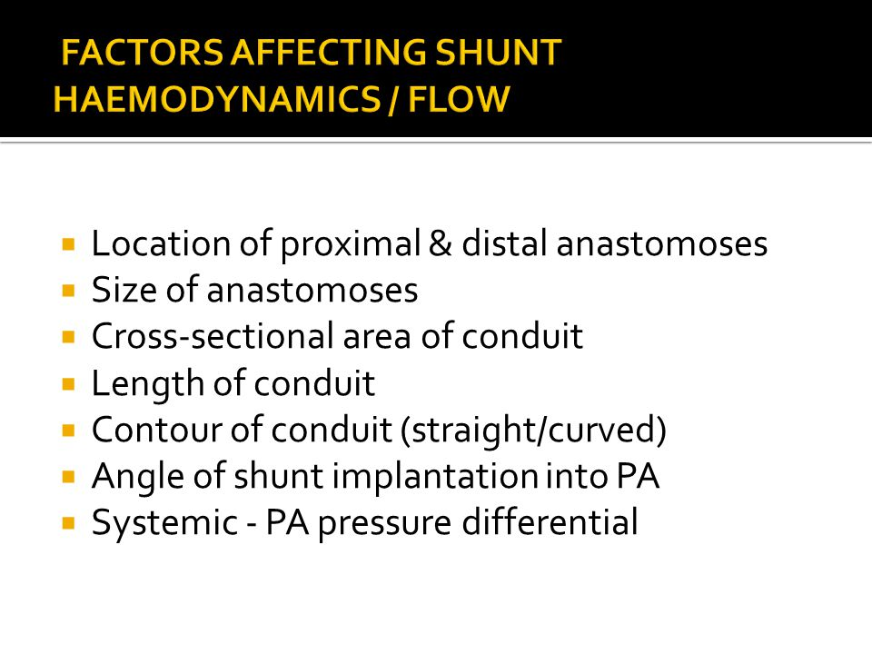 FACTORS AFFECTING SHUNT HAEMODYNAMICS / FLOW