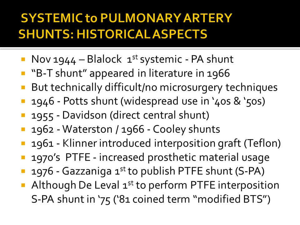 SYSTEMIC to PULMONARY ARTERY SHUNTS: HISTORICAL ASPECTS