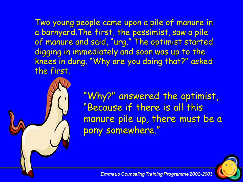 Two young people came upon a pile of manure in a barnyard