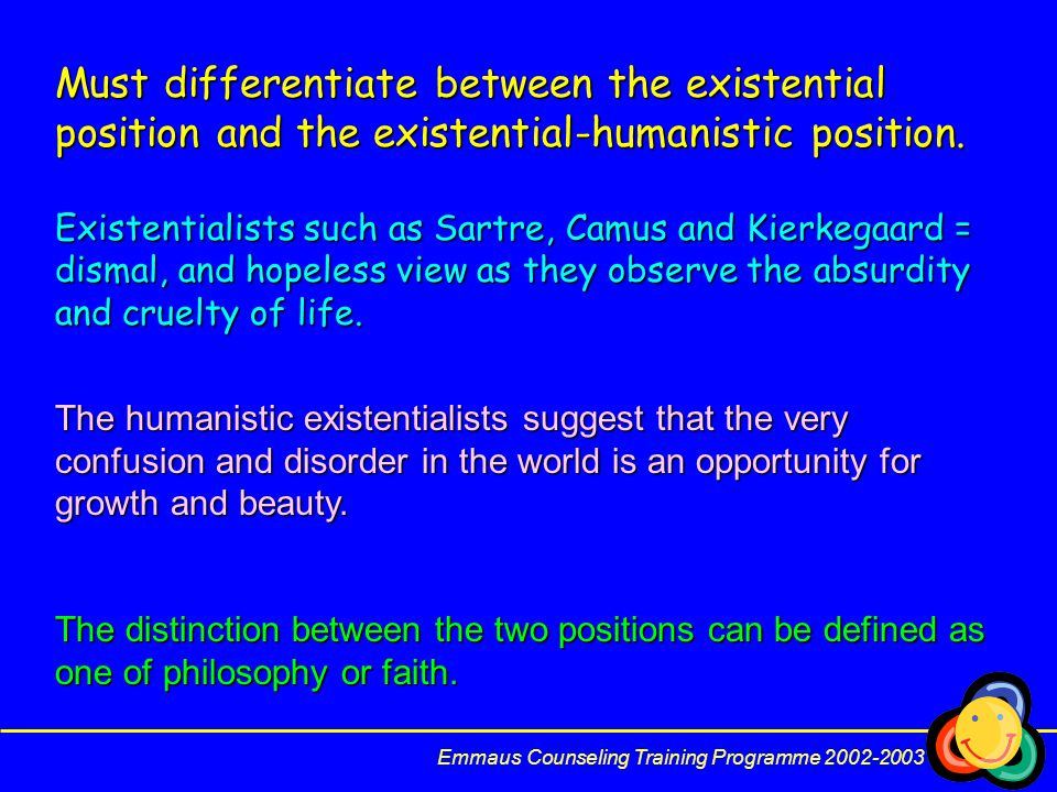 Must differentiate between the existential position and the existential-humanistic position.