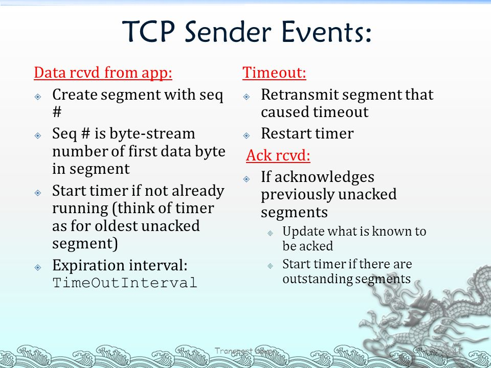 TCP Sender Events: Data rcvd from app: Create segment with seq #