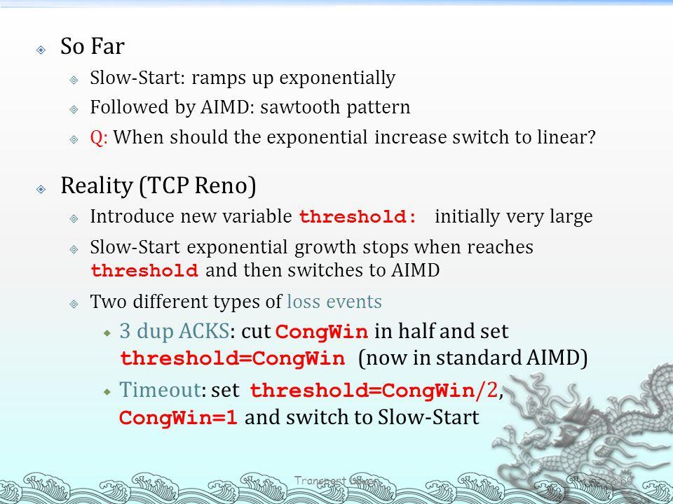So Far Reality (TCP Reno)