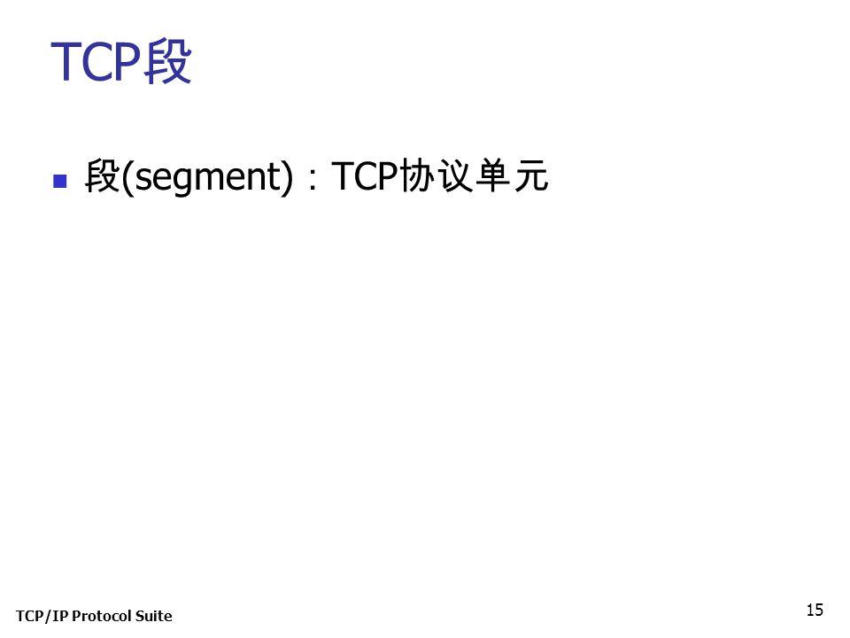 TCP段 段(segment):TCP协议单元 TCP/IP Protocol Suite