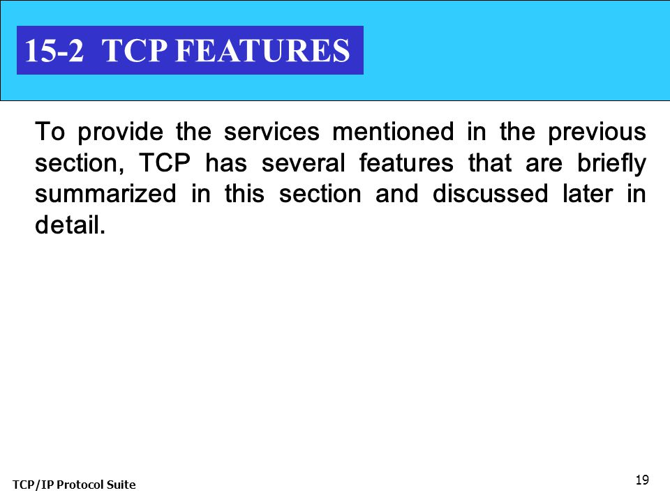 15-2 TCP FEATURES
