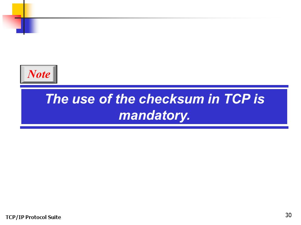 The use of the checksum in TCP is mandatory.