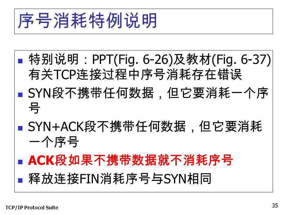 序号消耗特例说明 特别说明:PPT(Fig. 6-26)及教材(Fig. 6-37)有关TCP连接过程中序号消耗存在错误
