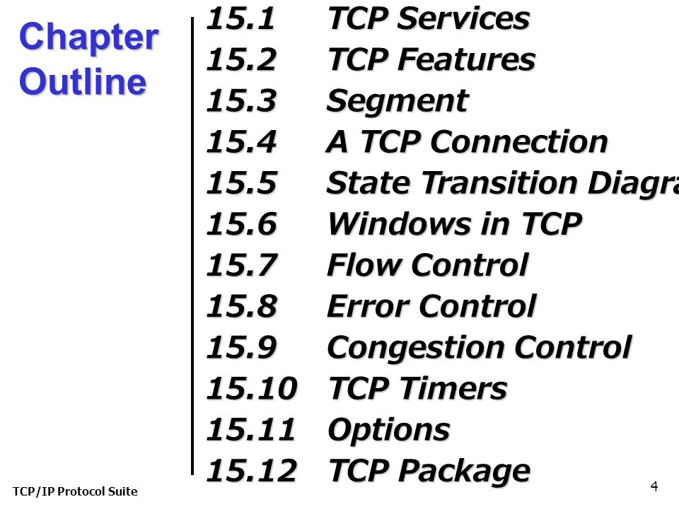 Chapter Outline 15.1 TCP Services 15.2 TCP Features 15.3 Segment