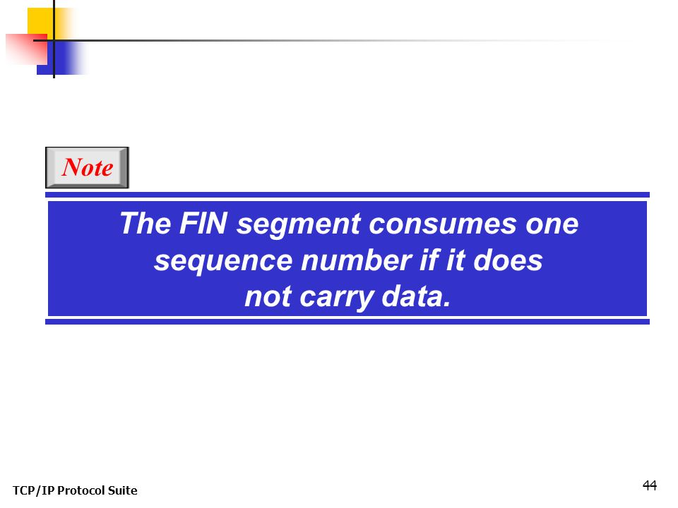Note The FIN segment consumes one sequence number if it does not carry data. TCP/IP Protocol Suite
