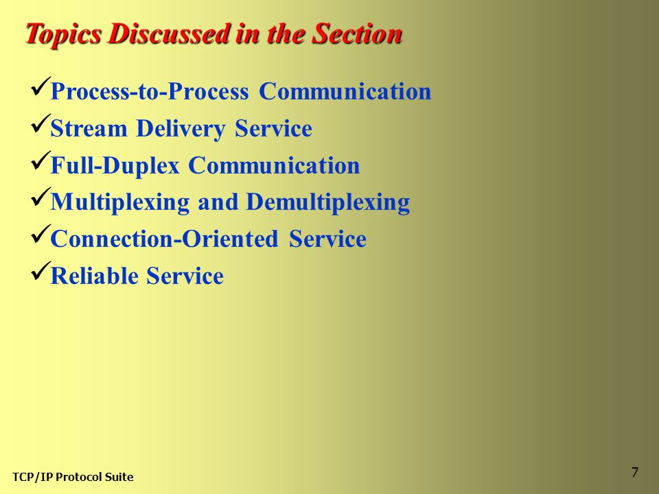 Topics Discussed in the Section