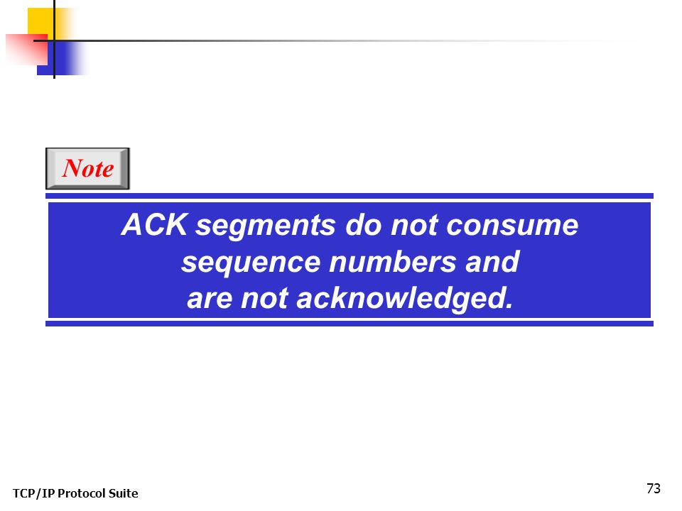 ACK segments do not consume sequence numbers and