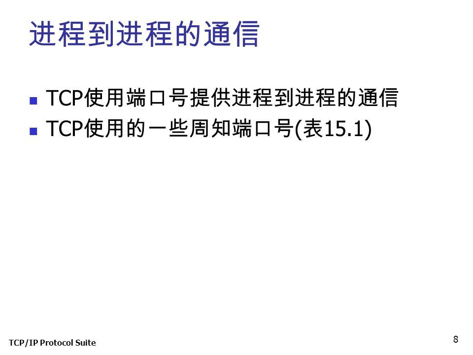 进程到进程的通信 TCP使用端口号提供进程到进程的通信 TCP使用的一些周知端口号(表15.1) TCP/IP Protocol Suite