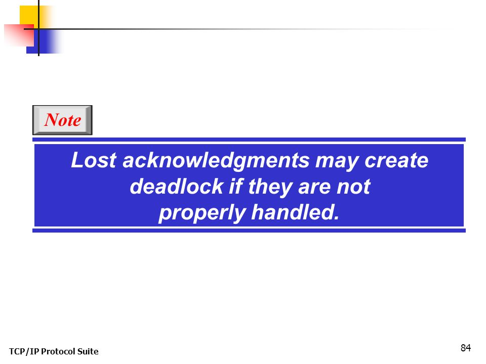 Lost acknowledgments may create deadlock if they are not