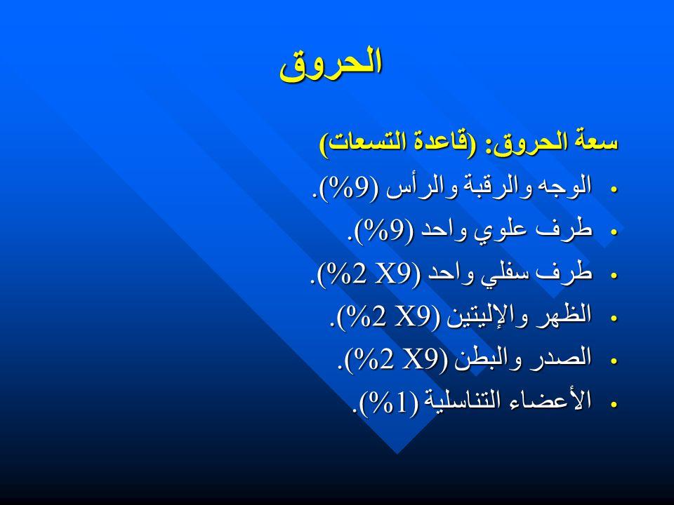 الحروق سعة الحروق: (قاعدة التسعات) الوجه والرقبة والرأس (9%).