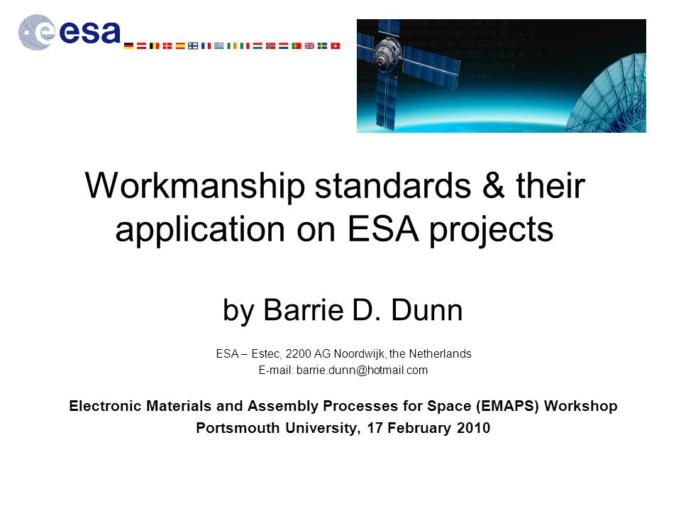 Workmanship standards & their application on ESA projects