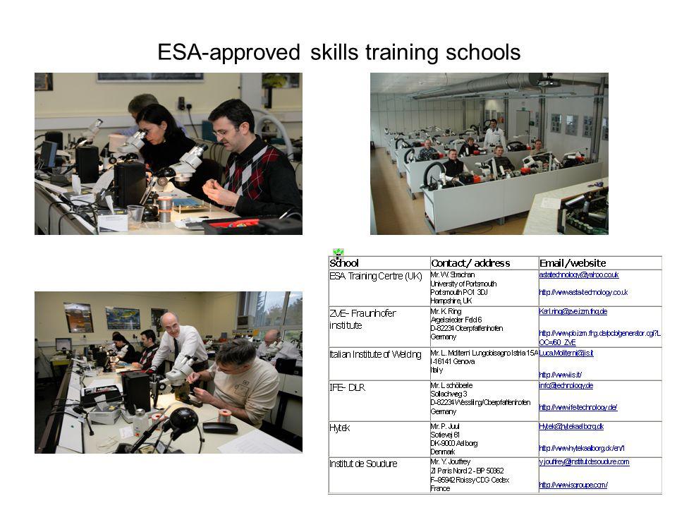 ESA-approved skills training schools