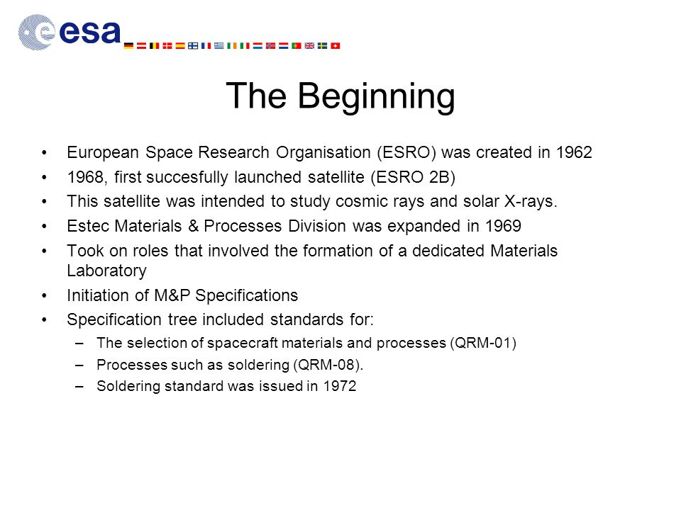The Beginning European Space Research Organisation (ESRO) was created in 1962. 1968, first succesfully launched satellite (ESRO 2B)