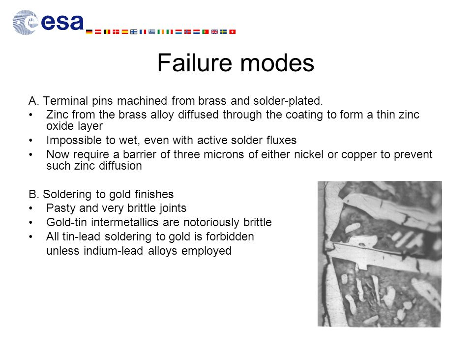 Failure modes A. Terminal pins machined from brass and solder-plated.