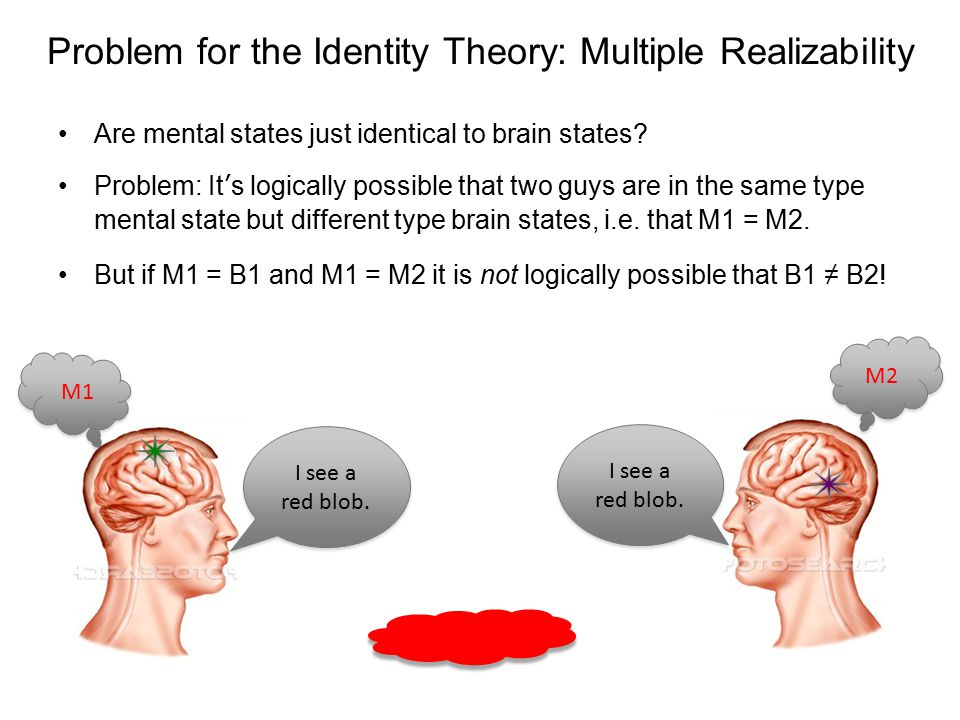 multiple realizability Def 1: type-identity theory: brain states and mental states are the same thing the mental state i love metallica is nothing more than the neural configuration of a.