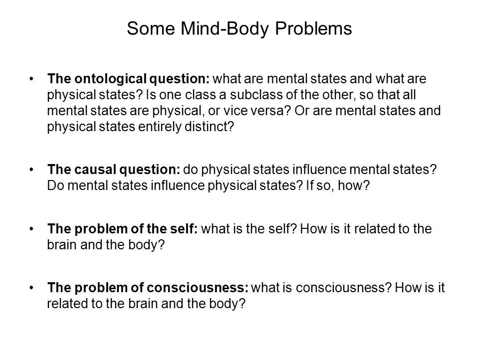 mind body problem The mind-body problem is one of those issues with which many disciplines have  to cope, sometimes repeatedly it is necessary to deal with it because it is of.