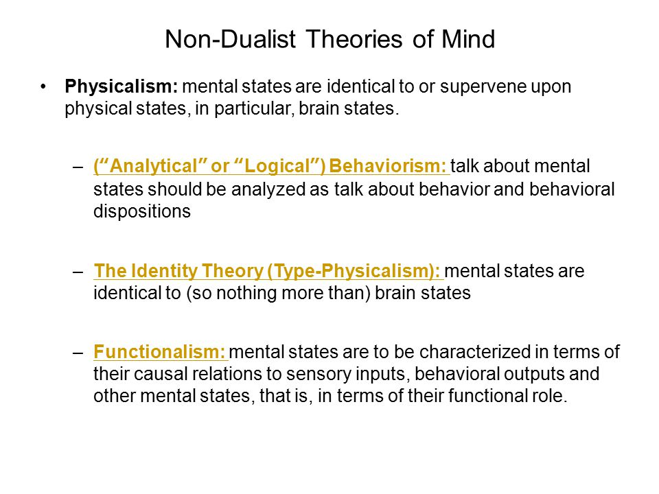 Non-Dualist Theories of Mind