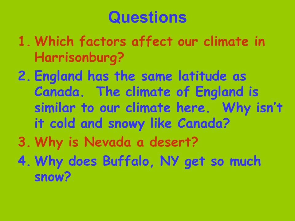 Questions Which factors affect our climate in Harrisonburg