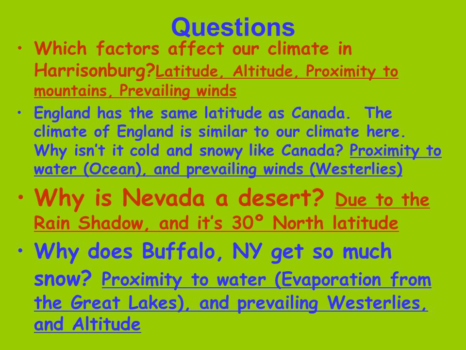 Questions Which factors affect our climate in Harrisonburg Latitude, Altitude, Proximity to mountains, Prevailing winds.