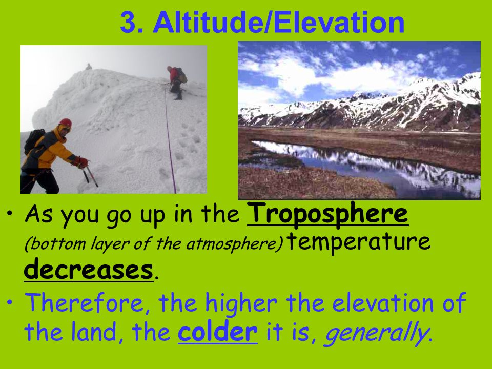 3. Altitude/Elevation As you go up in the Troposphere (bottom layer of the atmosphere) temperature decreases.