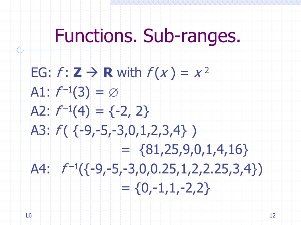 Functions. Sub-ranges. EG: f : Z  R with f (x ) = x 2 A1: f –1(3) = 