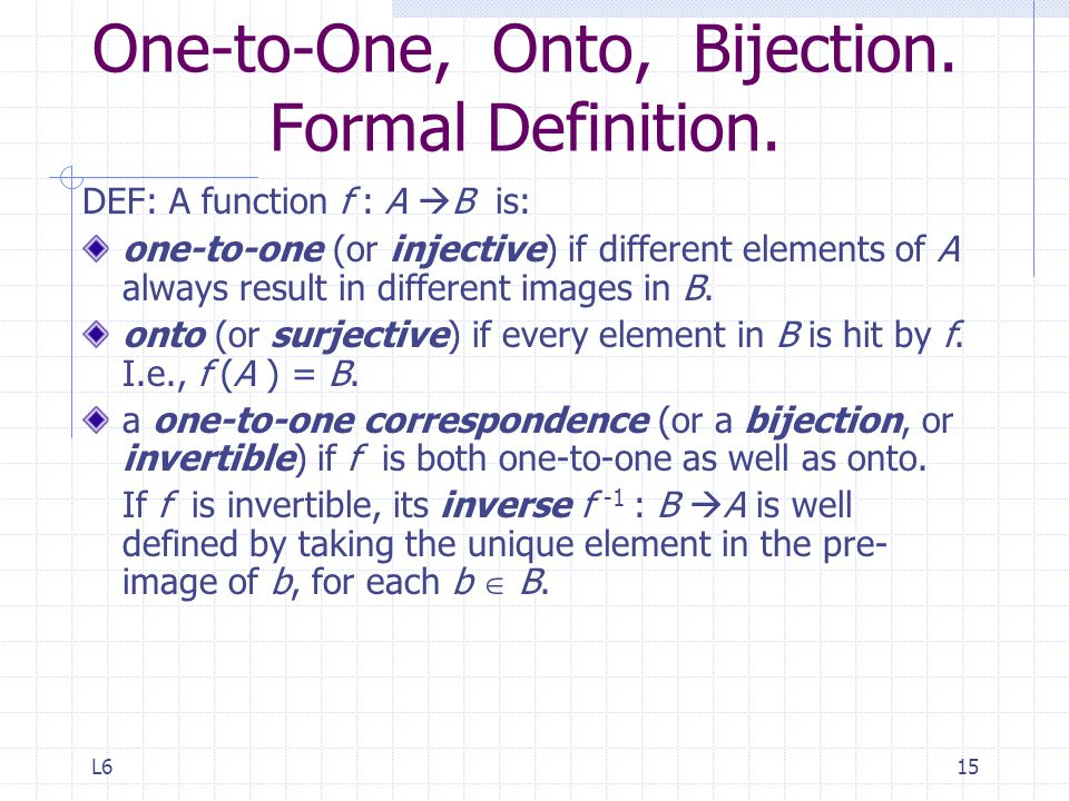 One-to-One, Onto, Bijection. Formal Definition.