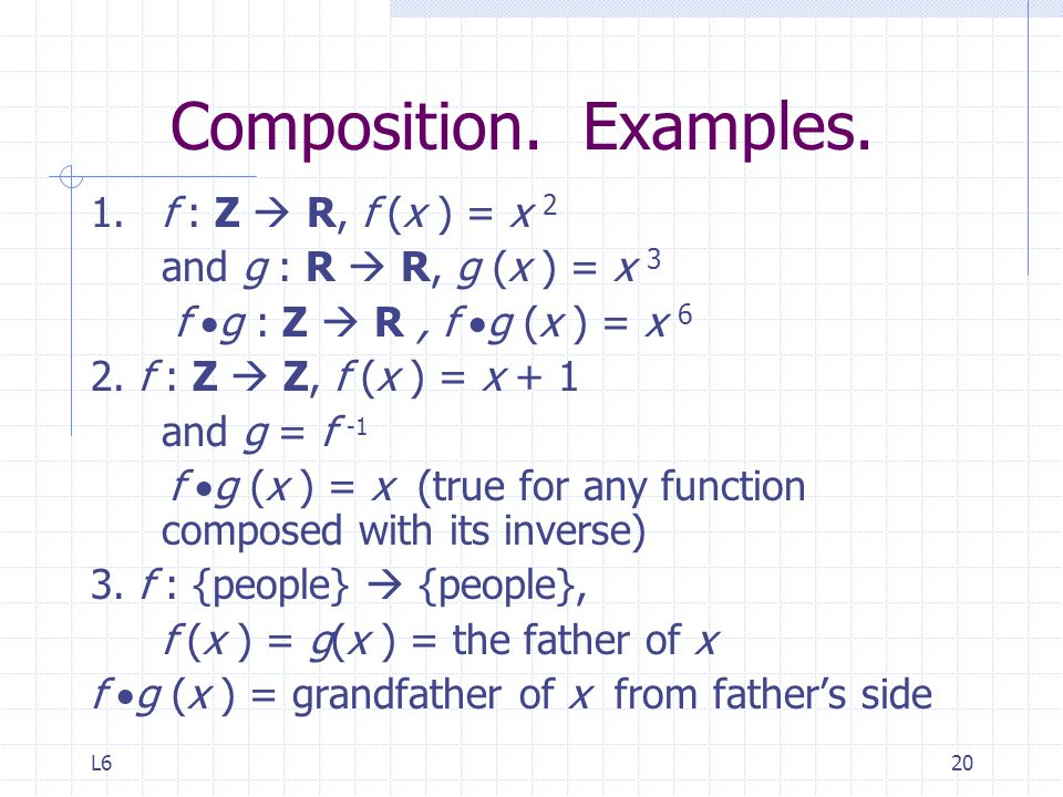 Composition. Examples. 1. f : Z  R, f (x ) = x 2