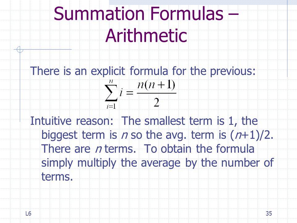 Summation Formulas –Arithmetic