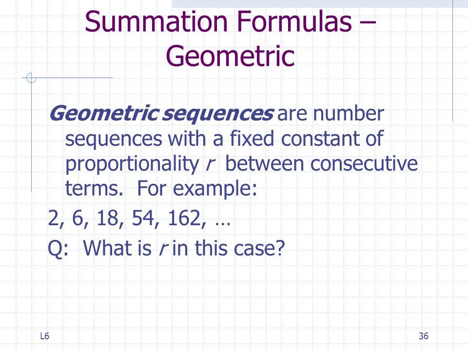 Summation Formulas – Geometric