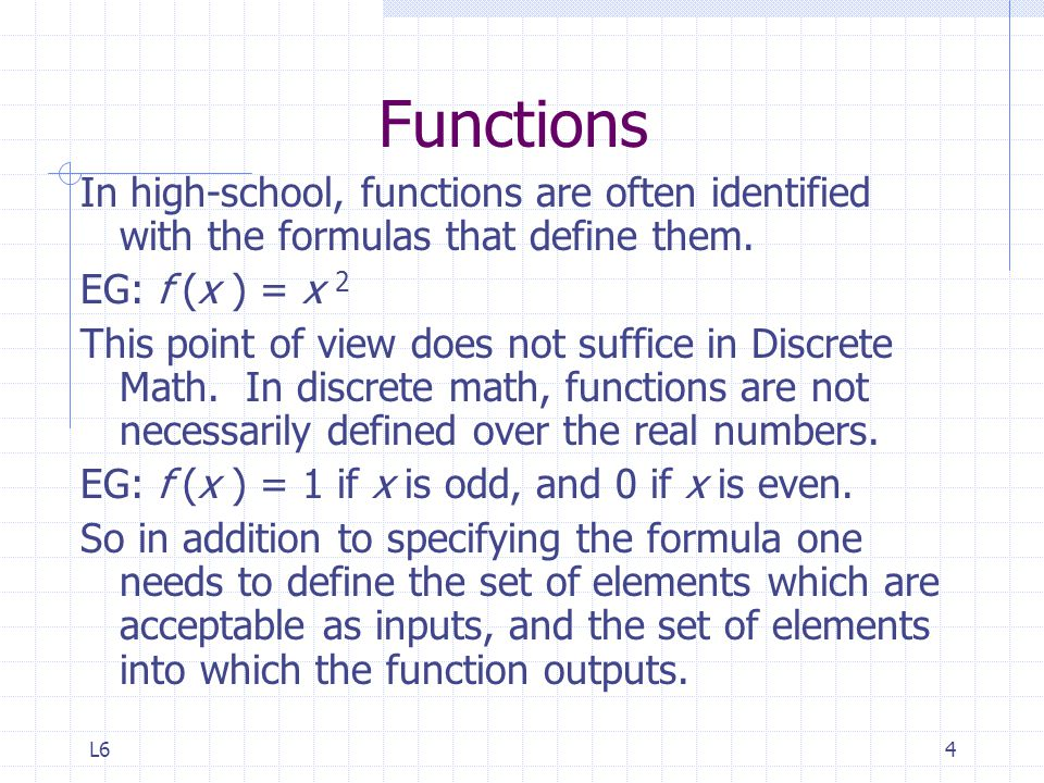 Functions In high-school, functions are often identified with the formulas that define them. EG: f (x ) = x 2.